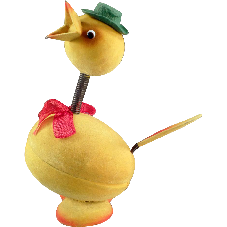 Vintage Candy Container - Fuzzy Easter Chick with Glass Eyes - Germany