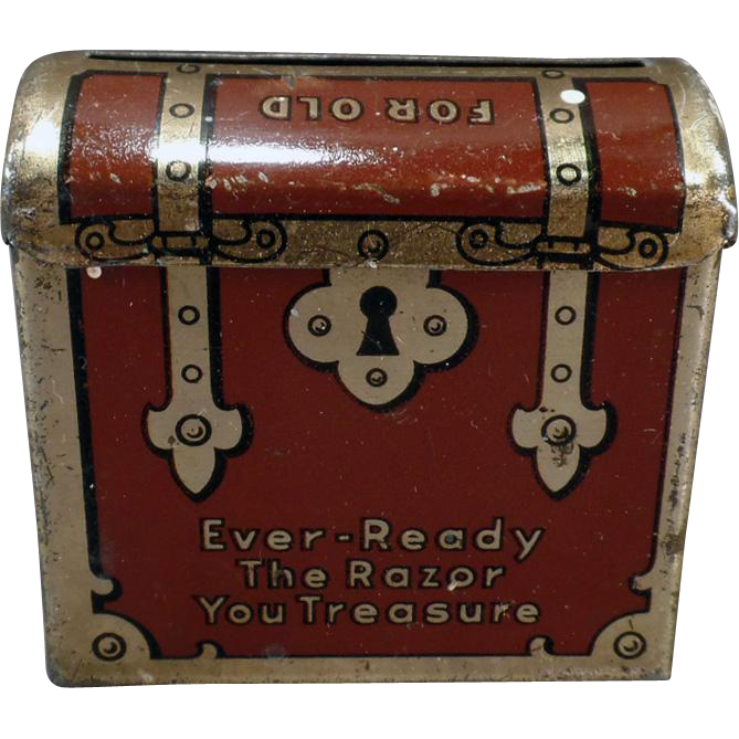 Vintage Ever-Ready Razor Blade Bank – Tin Treasure Chest Used Razor Keeper