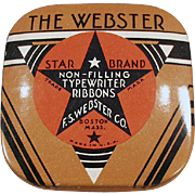 Vintage Ribbon Tin -  Old Webster Typewriter Ribbon Tin - Small Size