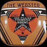 Vintage Ribbon Tin -  Old Webster Typewriter Ribbon Tin - Small Size