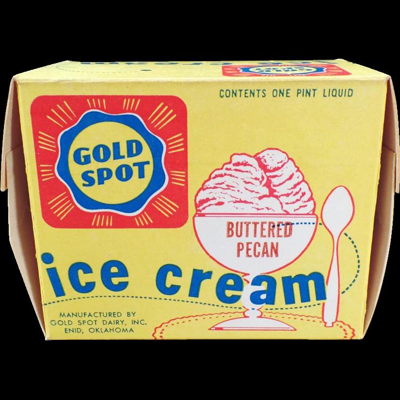 Vintage Gold Spot Ice Cream Carton – Enid Oklahoma Dairy