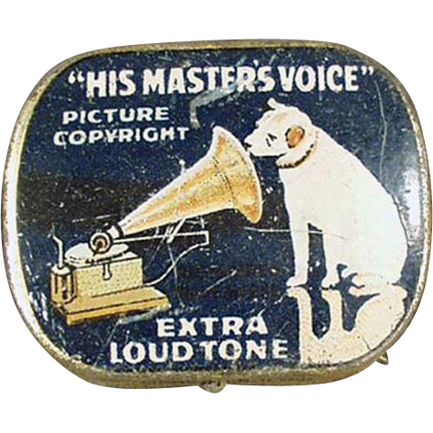 Vintage Phonograph Needle Tin - His Master's Voice Nipper Logo - Old Blue Tin