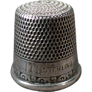 Vintage Sterling Silver Sewing Thimble - Simple Scroll Design – Size 11