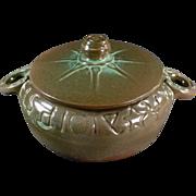 Vintage Frankoma Pottery - Old Wagon Wheel Covered Casserole #94V - Green Glaze -1940's