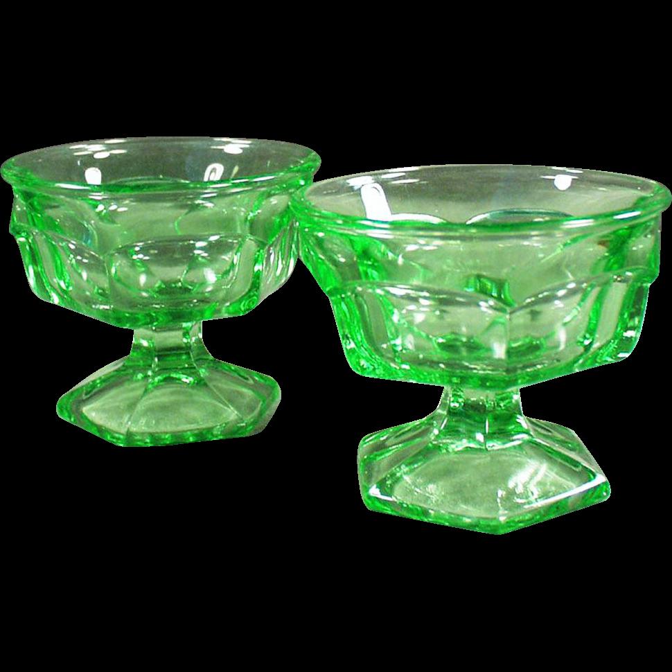 Vintage Ice Cream Sundae or Sherbet Dishes - Heavy Green Glass - Pair