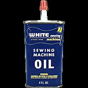 Vintage Oil Tin - Old White Sewing Machine Advertising
