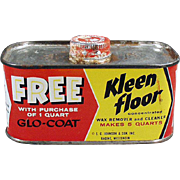 Vintage Johnson Wax Tin - Old Kleen Floor Tin - 1930's - 1950's Advertising