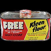 Vintage Johnson Wax Tin - Old Kleen Floor Tin - 1930's - 1950's Advertising