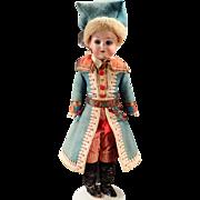 "Vintage German Bisque Doll in Elaborate Original Outfit – 14"""