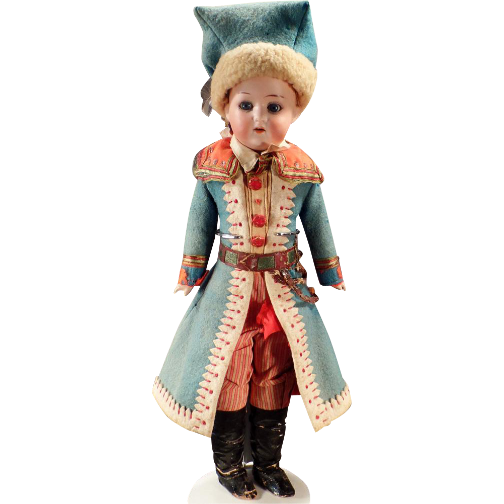 Vintage German Bisque Doll in Elaborate Original Outfit – 14""