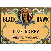 Vintage Soda Pop Bottle Label - Black Hawk - Colorful Old Advertising with American Indian