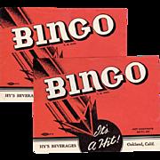 Two Vintage Soda Pop Bottle Labels - 2 Old Bingo Labels