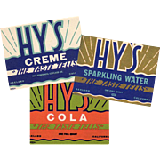 Three Vintage Soda Bottle Labels - Hy's in 3 Different Designs - Colorful Old Advertising