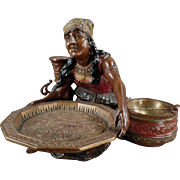 Vintage Card Receiver and Ashtray - Old Peasant Woman - Beautiful Desk Item