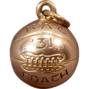 Vintage Basketball Charm - 1931 Coach K.A.C. - Old Gold Filled Charm