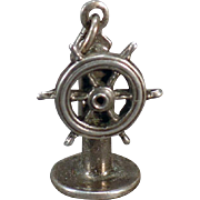 Vintage Silver Charm – Old Ship's Helm Wheel with a Movable Steering Wheel