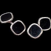 Vintage Swank Cuff Links – Sharp Black and Silver Loose Link Set
