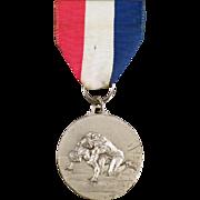 Vintage Sports Memorabilia - Old Wrestling Medal with Original Ribbon - Kuna Idaho 1973