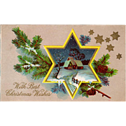 Vintage Christmas Postcard with a Star Framed Winter Scene