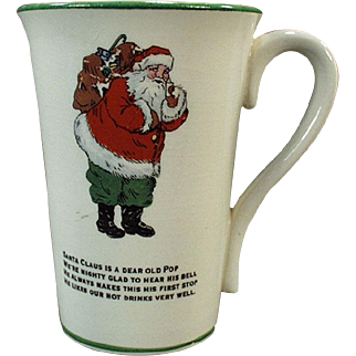 Vintage Christmas Mug - Old Humoresque Cup with Santa Claus and a Poem
