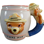 Child's Vintage Smokey the Bear Cup - Old I Like Milk Mug with Figural Handle