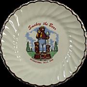 Vintage Smokey the Bear Plate - Old Souvenir of International Falls Minnesota