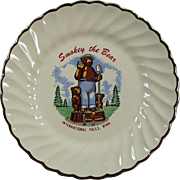 Vintage Smokey the Bear Plate - Old Souvenir of International Falls Minnesota