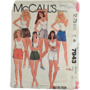 Vintage Pattern for Short Shorts - Old McCall's Pattern #7943 - Miss Size 8 - 1982
