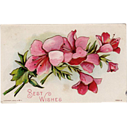 Vintage Postcard - Old Floral Postcard with Embossed Design - Best Wishes