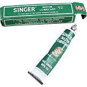 Vintage Singer Sewing Machine Accessory - Old Singer Grease Tube and Box