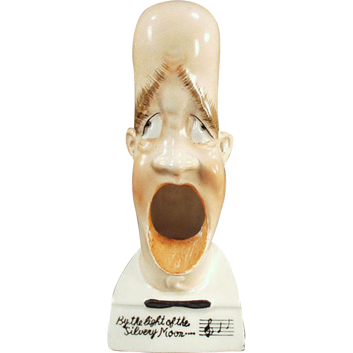 Vintage Porcelain Whimsy - Old Smoking Head - By the Light of Silvery Moon