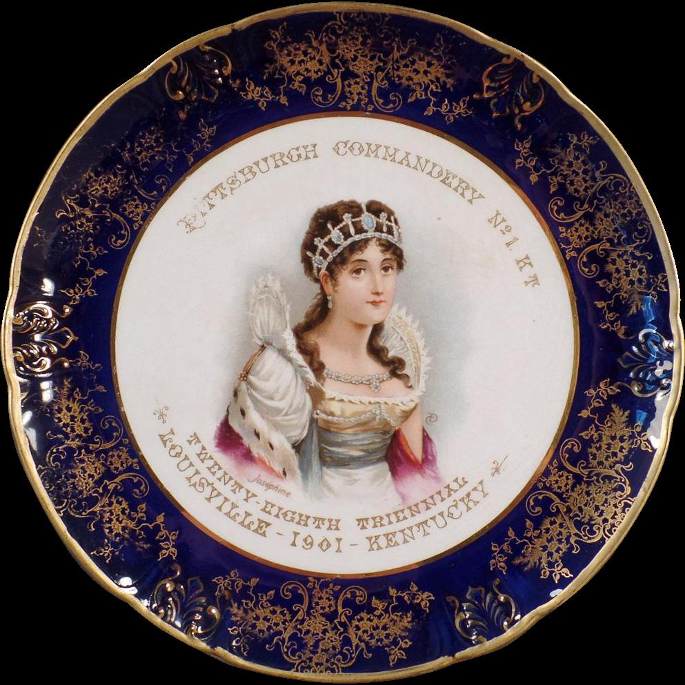 Vintage Porcelain Portrait Plate - Old Knights Templar Souvenir with Josephine - 1901