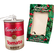 Old Glass Christmas Ornament - Campbell's Tomato Soup Can with Original Box