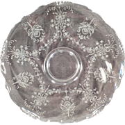 """Vintage Heisey – 14"""" Party Platter – Old Orchid Etch on Waverly Pattern"""