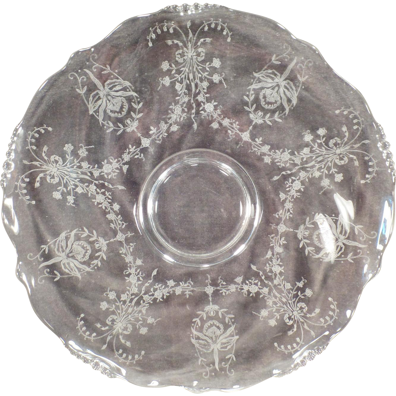 "Vintage Heisey – 14"" Party Platter – Old Orchid Etch on Waverly Pattern"