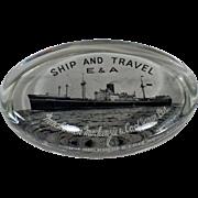 Vintage Glass Paperweight – Mackinnon Mackenzie & Co. Of Japan – Old Steamship