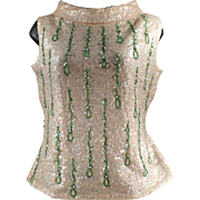 Ladies Vintage Evening Wear - Old Beaded and Sequined Shell Top - 1960's