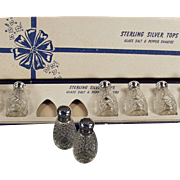 Vintage Sterling and Glass Salt and Pepper Shakers - 4 Old Sets in Original Box