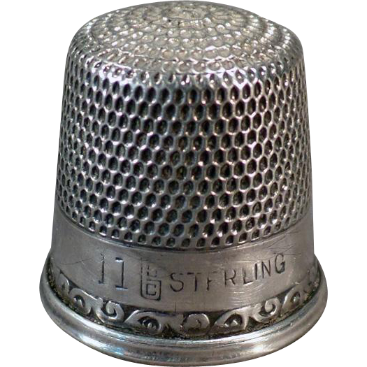 Vintage Sterling Silver Sewing Thimble – Old Goldsmith Stern Size 11 Thimble