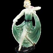 Vintage Porcelain Figurine - Old Deco Decor - Girl in a Flared Green Dress