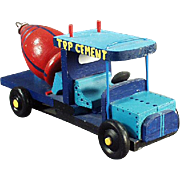 Old Wood Toy  - Old Cement Truck Toy - Hand Crafted from a Wooden Top