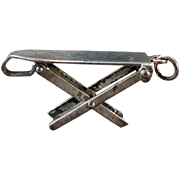 Vintage Sterling Silver Charm – Miniature Old Folding Ironing Board Charm