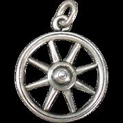 Vintage Silver Charm - Old Wagon Wheel Bracelet Charm