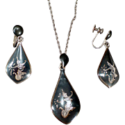 Vintage Niello Sterling Silver Necklace and Earring Set – Old Siam Jewelry Suite