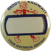 Vintage Pinback - Old Reddy Kilowatt Name Badge Pinback
