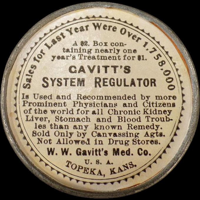 Vintage Medical Advertising Mirror – Old Gavitt's System Regulator Laxative Advertisement