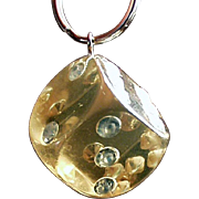 Vintage Key Ring - Large Old Lucite and Rhinestone Die