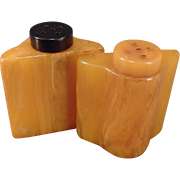 Vintage Catalin Salt and Pepper Shakers – Butterscotch Bakelite