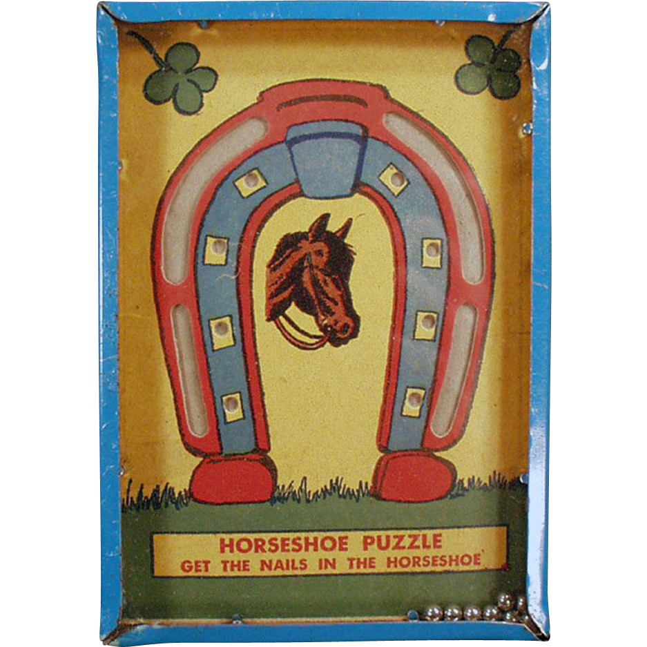 "Vintage Dexterity Game - Old Horseshoe Puzzle - ""Get the Nails in the Horseshoe"""