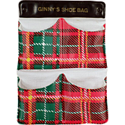 Vintage Accessory Item for Old Ginny Doll - Gay Plaid Shoe Bag